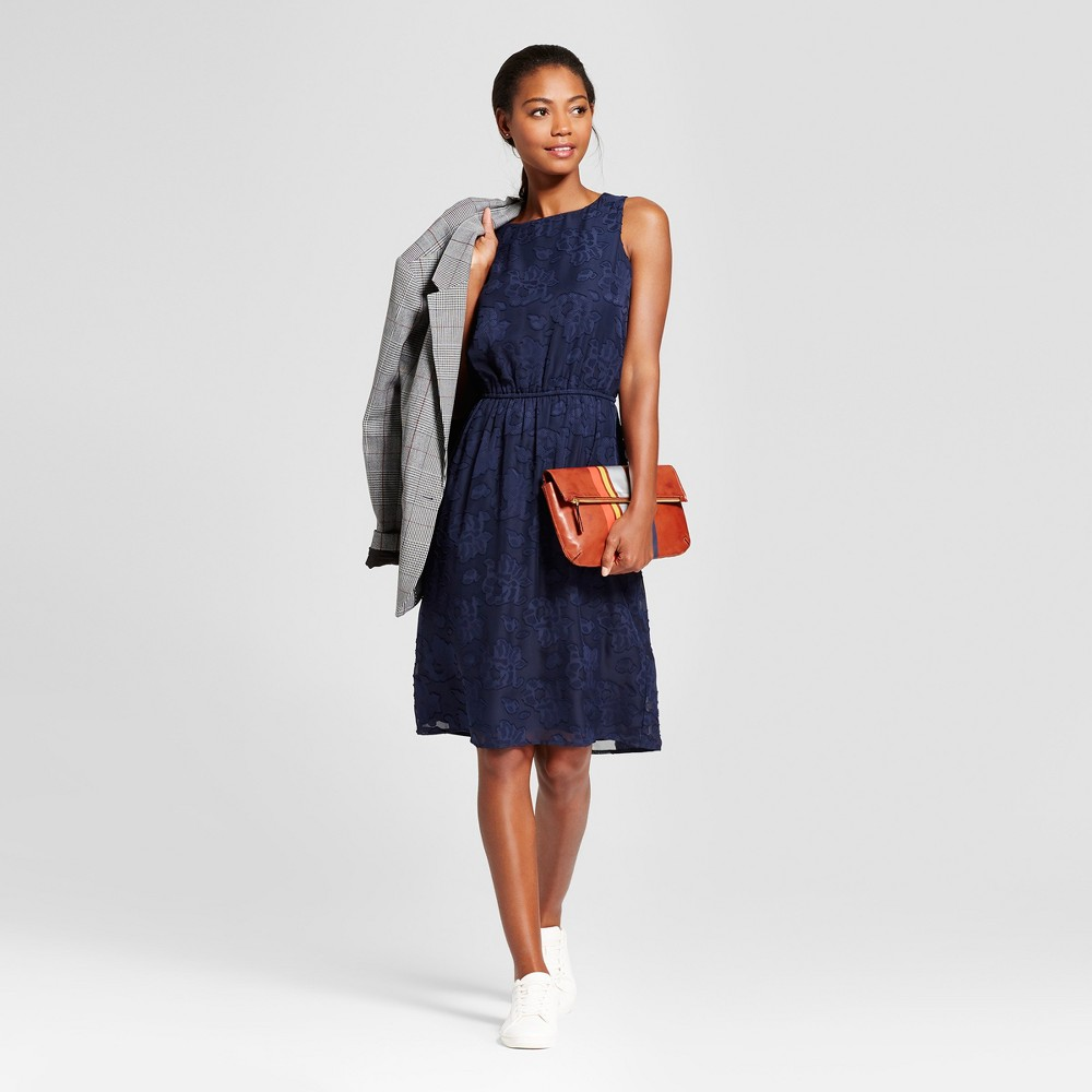 Womens Burnout Textured Dress - A New Day Navy (Blue) S