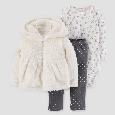 Baby Girls' 3pc Peplum Hooded Sherpa Set - Just One You™ Made by Carter's® Cream 3M