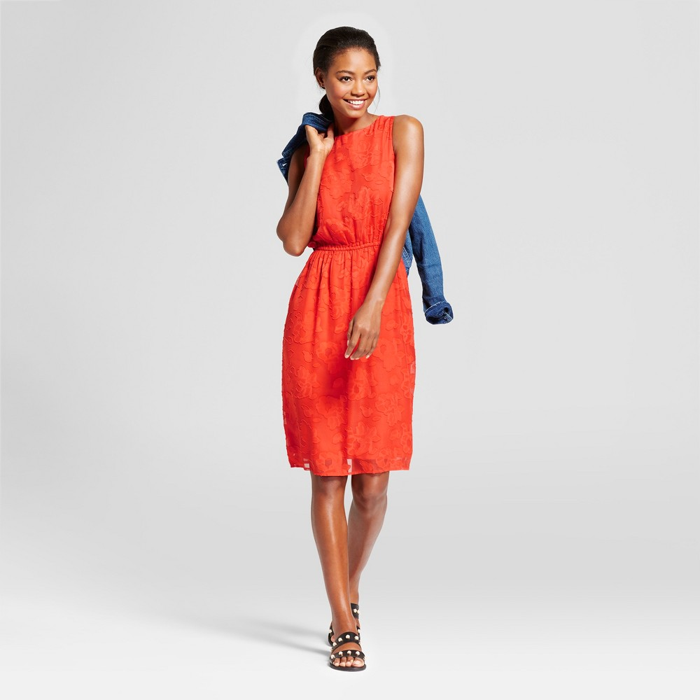 Womens Burnout Textured Dress - A New Day Tomato (Red) S