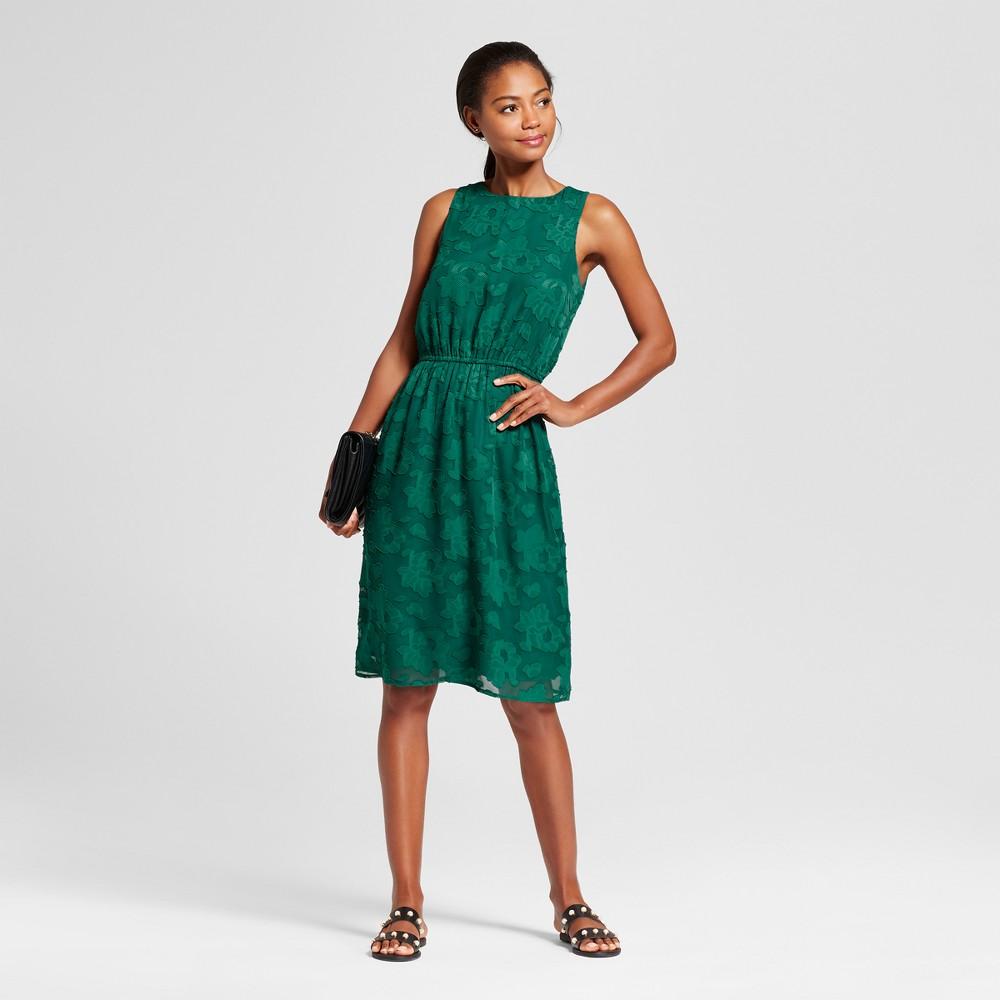 Womens Burnout Textured Dress - A New Day Green L