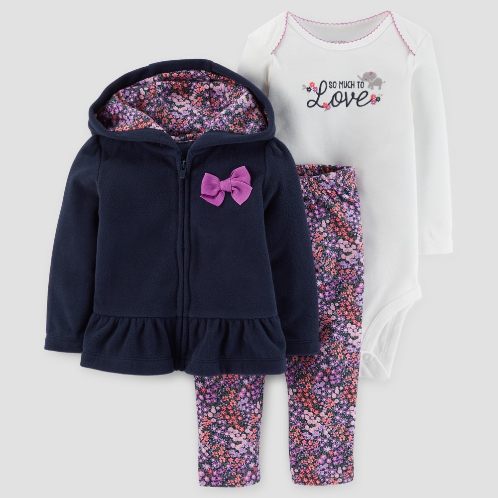 Baby Girls 3pc Ruffle Fleece Set - Just One You Made by Carters Navy/Purple 9M, Blue