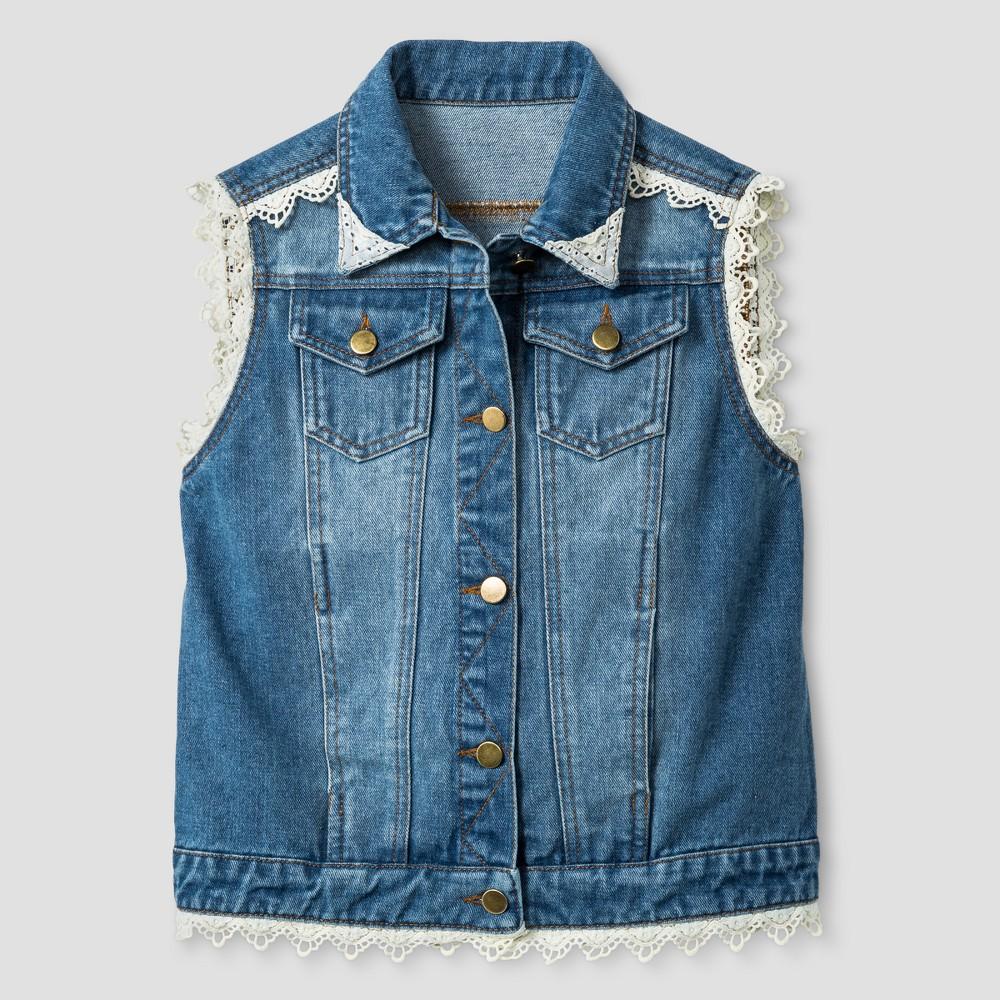 Girls Say What? Lace Trim Vests - Denim Blue - L (10-12), Size: L(10-12)