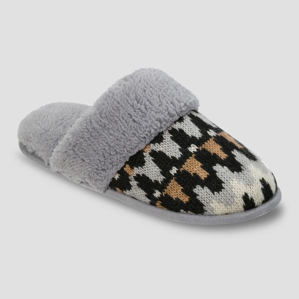 Womens dluxe by dearfoams Sandi Novelty Knit Scuff Slippers - Gray S(5-6), Size: S (5-6)