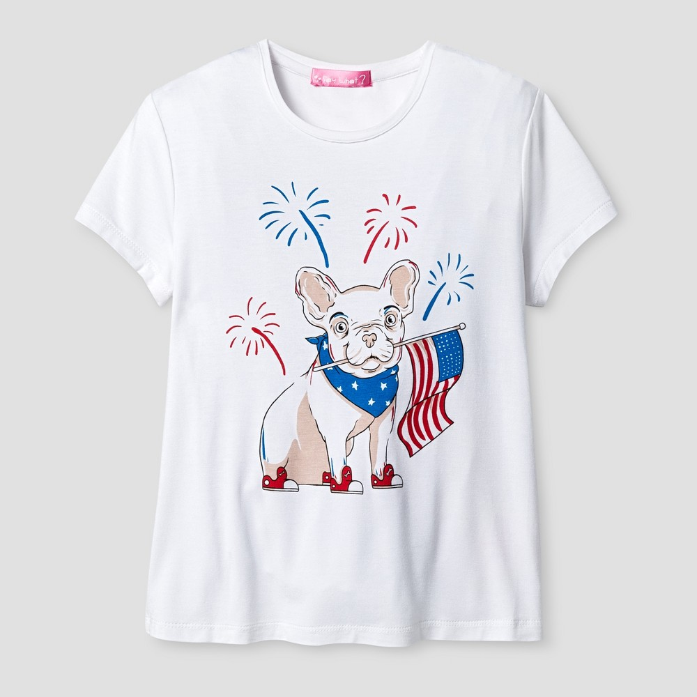 Girls Say What? Americana Bull Dog T-Shirt - White - M (7-8)