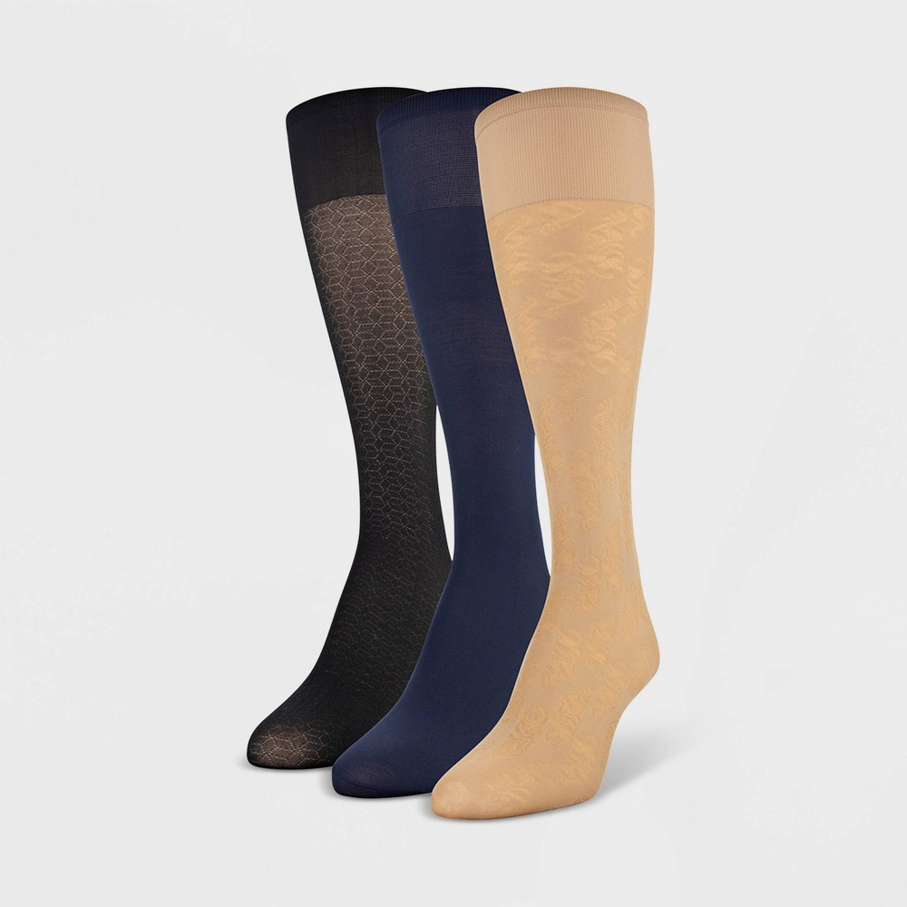 Womens Peds 3pk Light Opaque Trouser Socks -Nude/Navy/Black (Blue/Black) 5-10, Size: 9-11