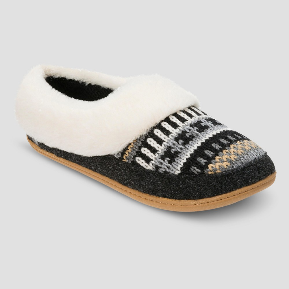 Womens dluxe by dearfoams Rhayne Patchwork Clog Slippers - Black S(5-6), Size: S (5-6)