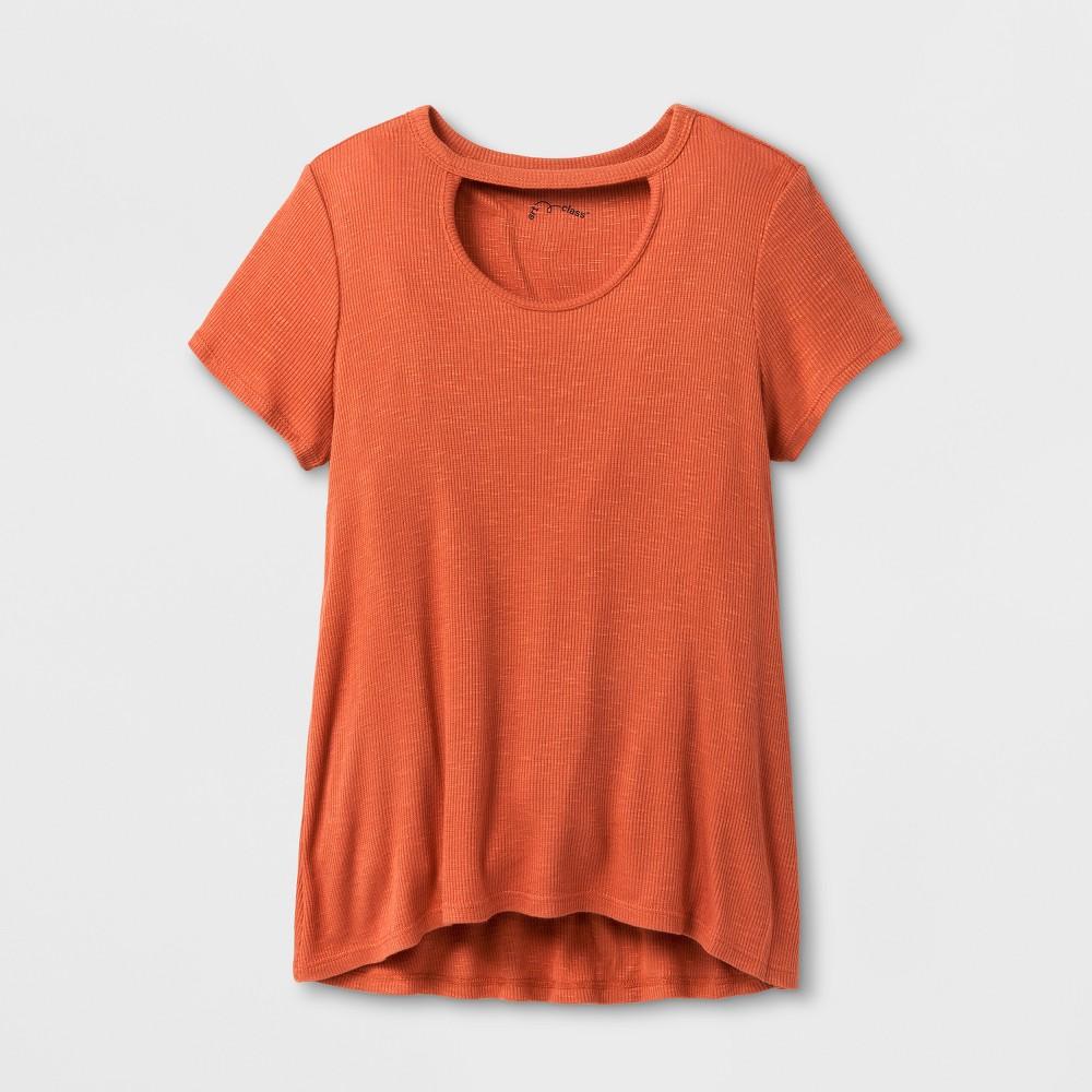 Girls Open Neck Knit T-Shirt - Art Class Auburn L