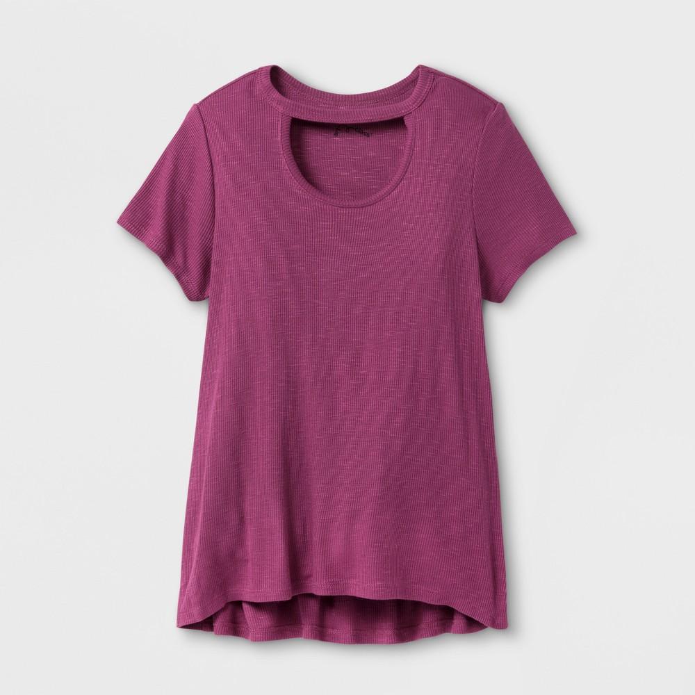 Girls Open Neck Knit T-Shirt - Art Class Amaranth S