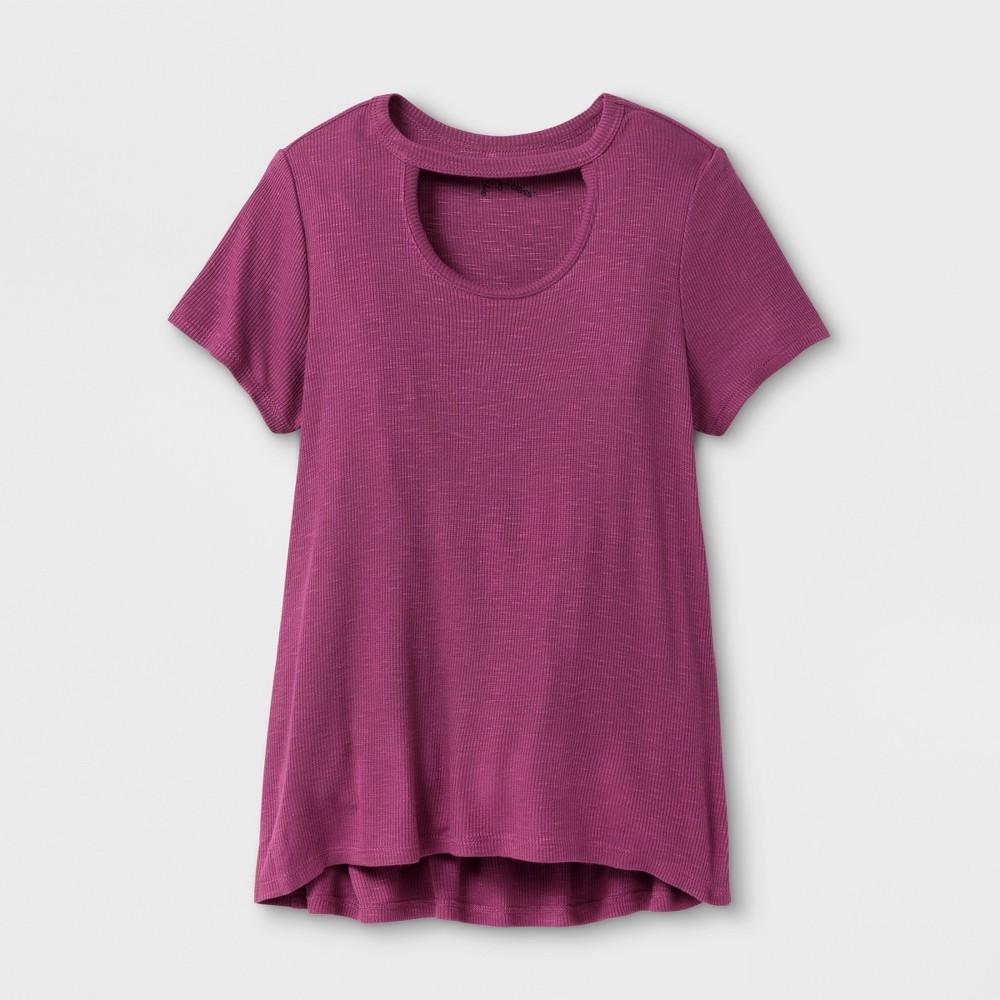 Girls Open Neck Knit T-Shirt - Art Class Amaranth M