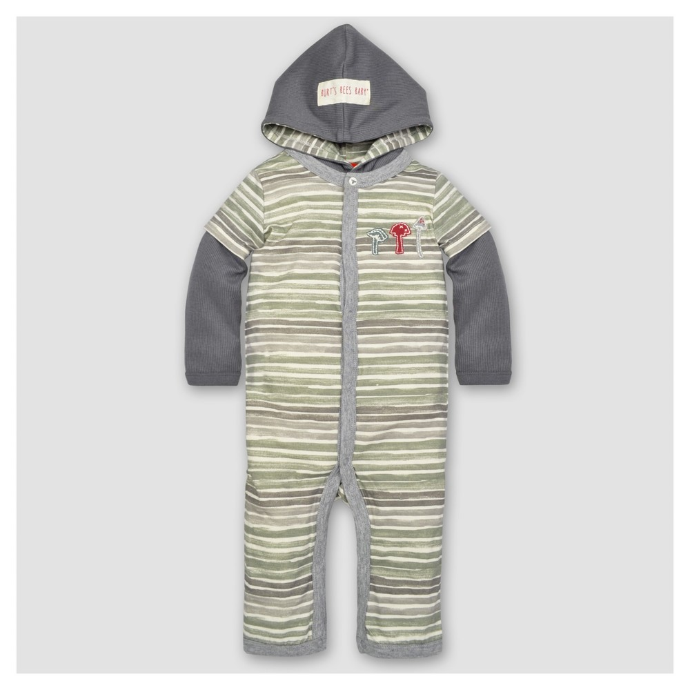 Burts Bees Baby Boys Organic Watercolor Strip Hooded Coverall NB, Multicolored