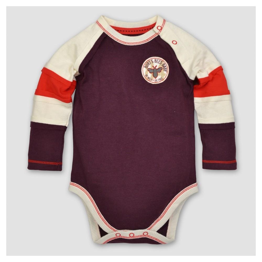 Burts Bees Baby Boys Organic Colorblocked Raglan Bodysuit - Maroon 6-9M, Size: 6-9 M, Red