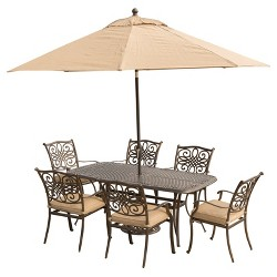 Traditions 9pc Rectangle Metal Patio Dining Set w/ 9' Table Umbrella & Stand- Tan - Hanover