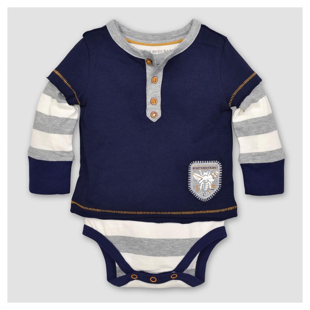 Burts Bees Baby Boys Organic Stripe Henley Bodysuit - Blue 18M, Size: 18 M