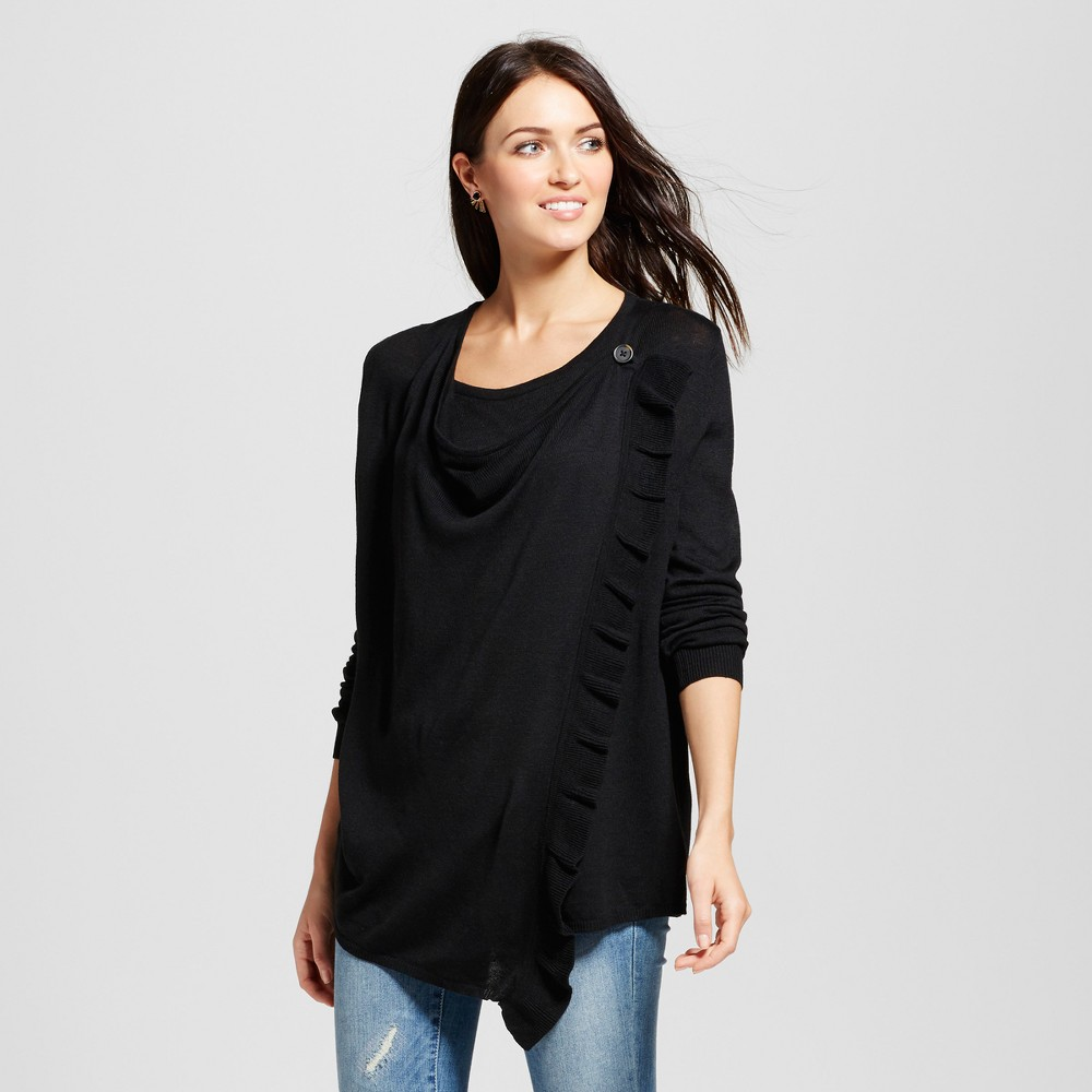 Womens Ruffle Wrap Front Cardigan - Knox Rose Black XS