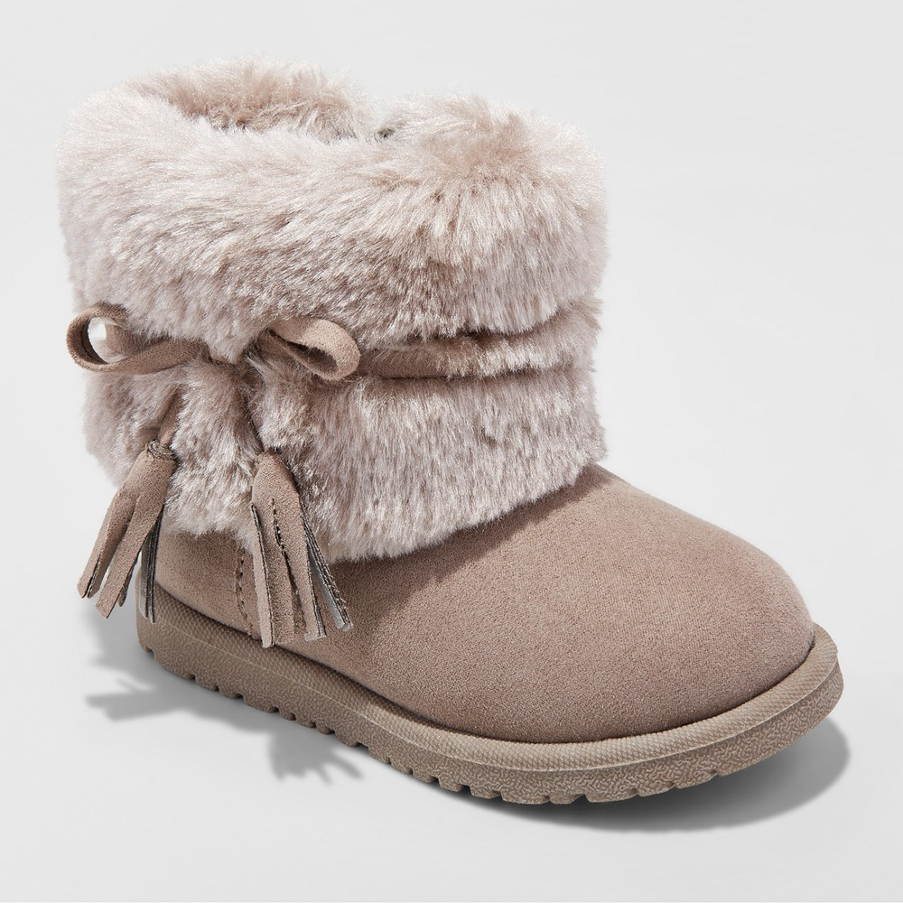Toddler Girls Teagan Fleece cozy Fashion boots Cat & Jack - Taupe (Brown) 6