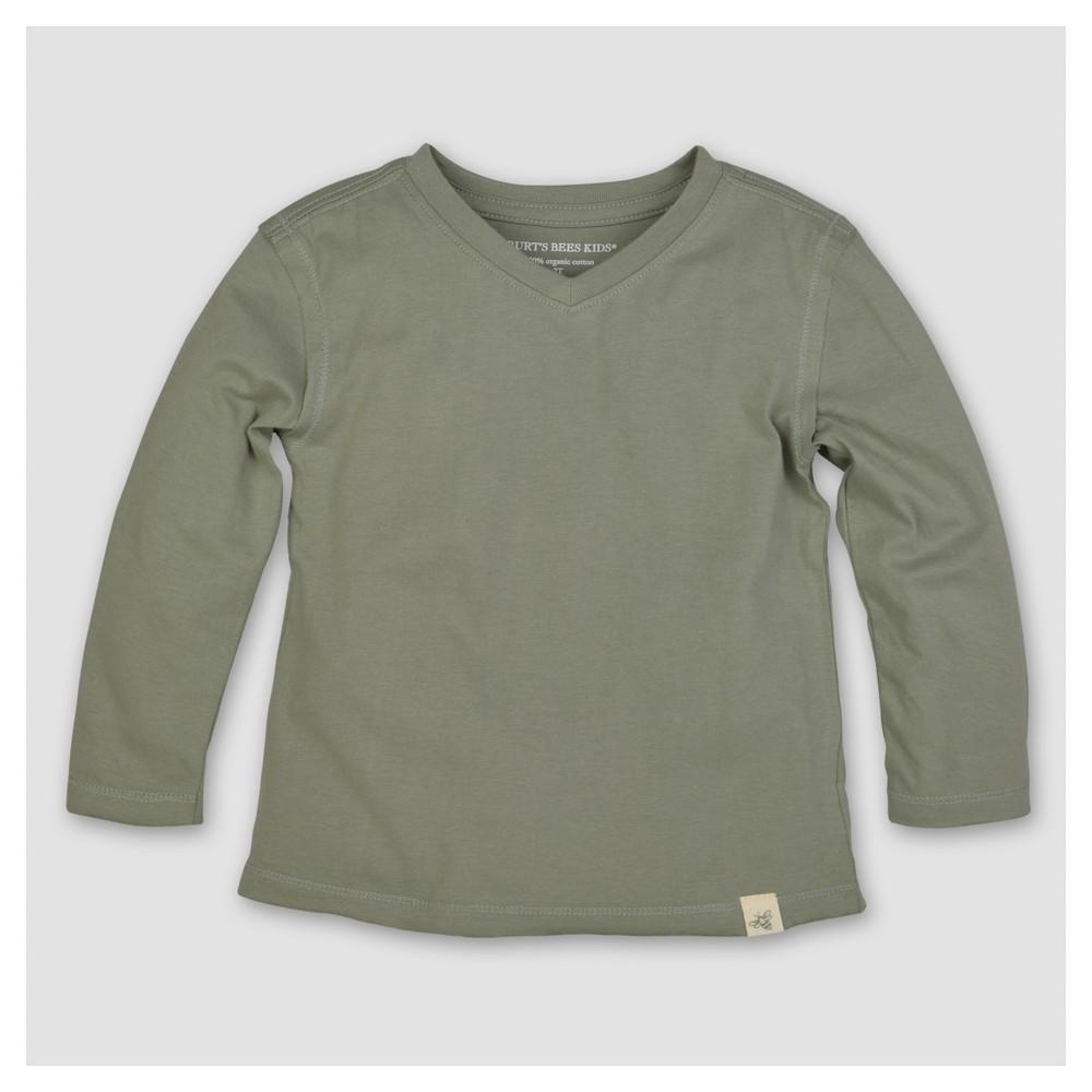 Burts Bees Baby Boys Organic Solid High V-Neck T-Shirt - Green 3-6M, Size: 3-6 M