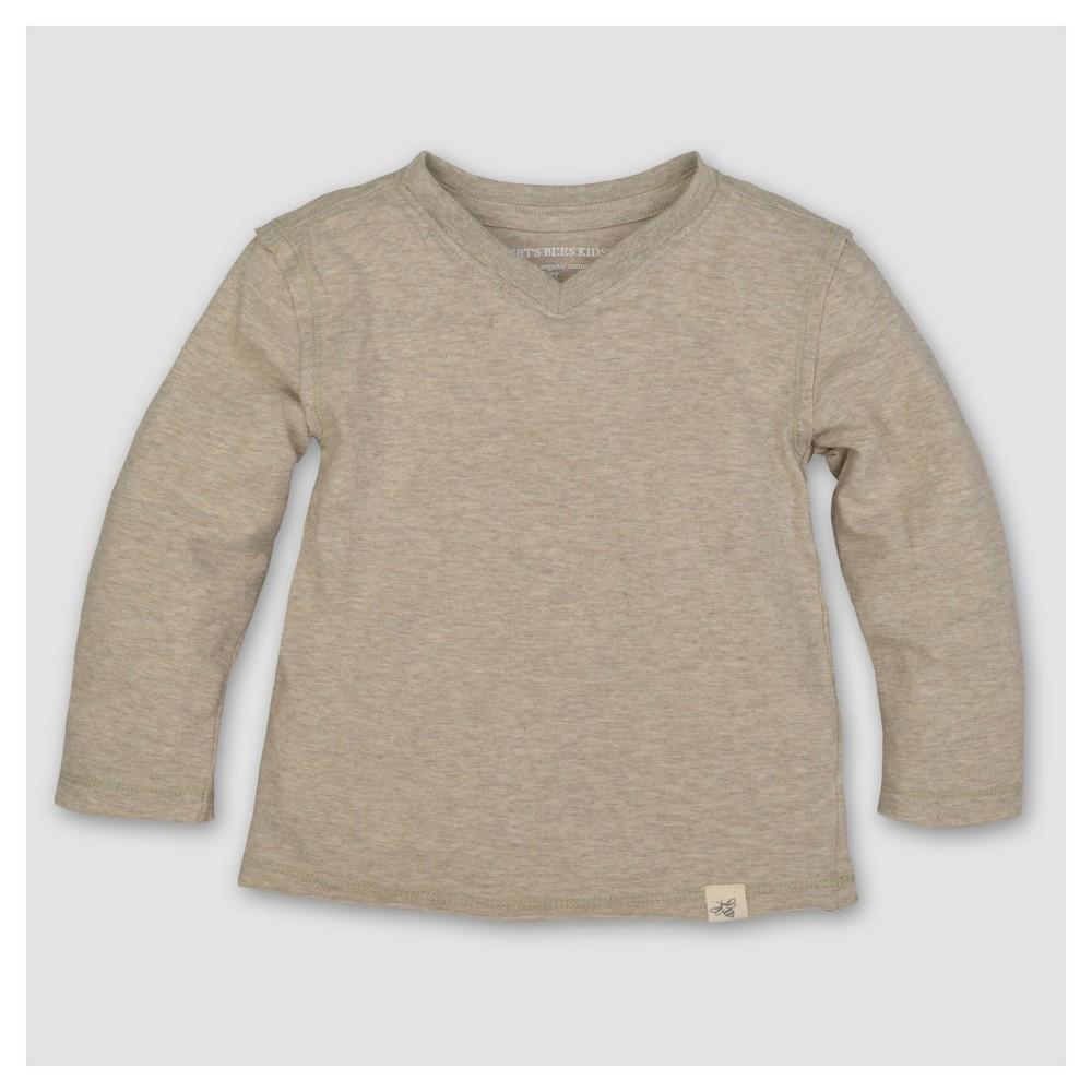 Burts Bees Baby Boys Organic Solid High V Long Sleeve T-Shirt - Sand 12M, Size: 12 M, White