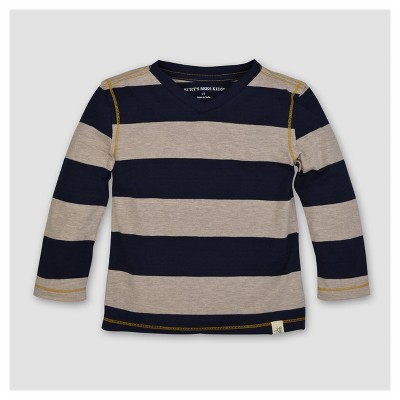 Burt's Bees Baby® Boys' Organic Rugby Stripe High V Long Sleeve T-Shirt - Blue 6-9M