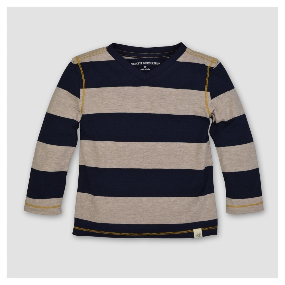Burts Bees Baby Boys Organic Rugby Stripe High V Long Sleeve T-Shirt - Blue 6-9M, Size: 6-9 M