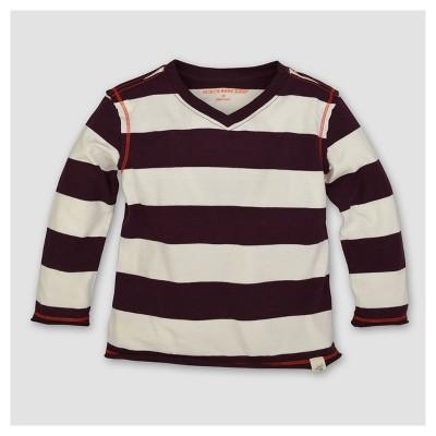 Burt's Bees Baby® Boys' Organic Rugby Stripe High V Long Sleeve T-Shirt - Maroon 6-9M