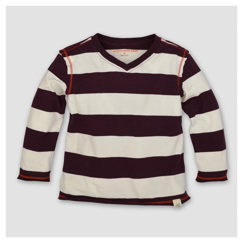 Burts Bees Baby Boys Organic Rugby Stripe High V Long Sleeve T-Shirt - Maroon 12M, Size: 12 M, Red