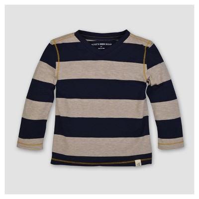 Burt's Bees Baby® Boys' Organic Rugby Stripe High V Long Sleeve T-Shirt - Blue 0-3M