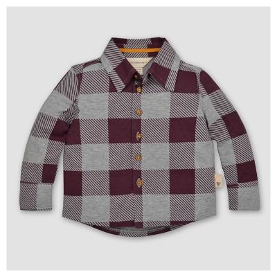 Burt's Bees Baby® Boys' Organic Buffalo Check Button Front Shirt - Maroon 6-9M