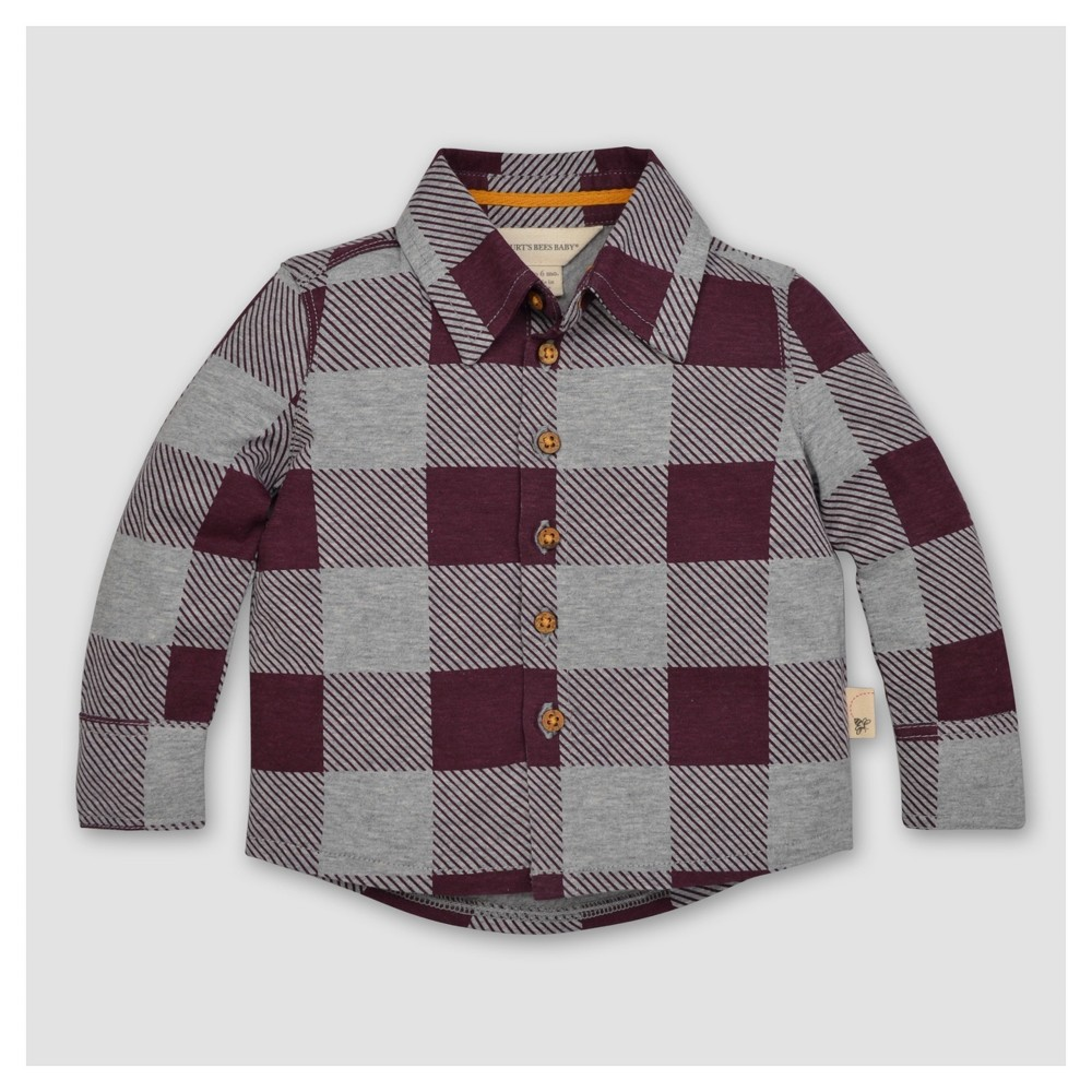 Burts Bees Baby Boys Organic Buffalo Check Button Front Shirt - Maroon 6-9M, Size: 6-9 M, Red