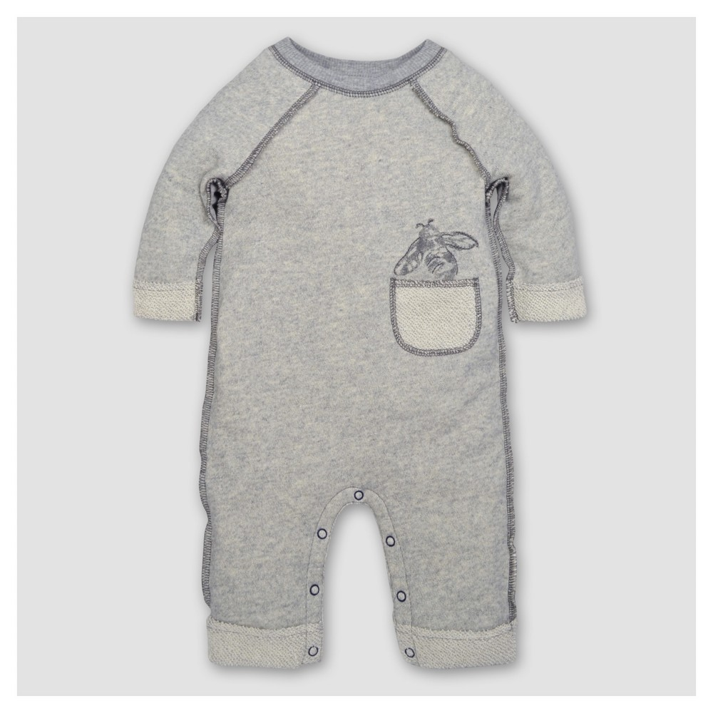 Burts Bees Baby Boys Organic Loop Terry Rolled Cuff Coverall - Heather Gray 18M, Size: 18 M