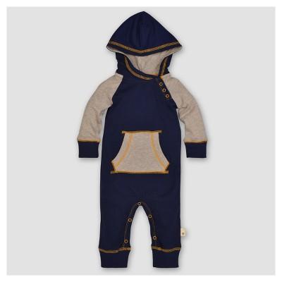 Burt's Bees Baby® Boys' Organic Colorblocked Raglan Coverall - Blue 0-3M