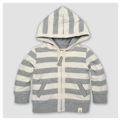 Burt's Bees Baby® Boys' Organic French Terry Stripe Zip Hoodie - Heather Gray 0-3M