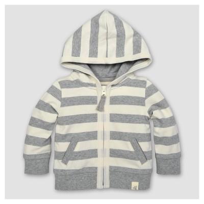Burt's Bees Baby® Boys' Organic French Terry Stripe Zip Hoodie - Heather Gray 6-9M