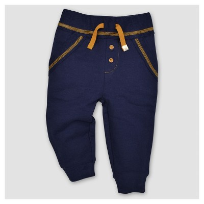 Burt's Bees Baby® Boys' Organic French Terry Reverse Waistband Pants - Blue 3-6M