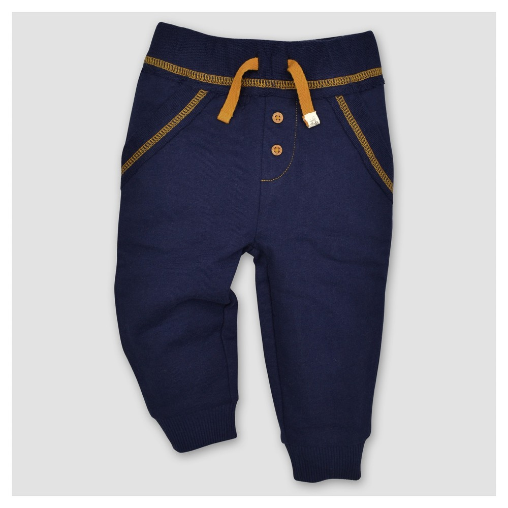 Burts Bees Baby Boys Organic French Terry Reverse Waistband Pants - Blue 3-6M, Size: 3-6 M