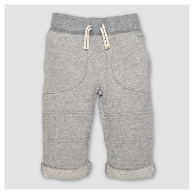 Burt's Bees Baby® Boy's Organic Loop Terry Rolled Cuff Pants - Heather Gray 3-6M