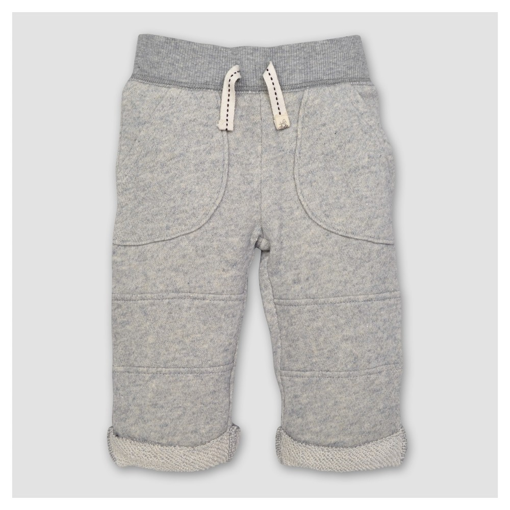 Image of Burt's Bees Baby Boy's Organic Loop Terry Rolled Cuff Pants - Heather Gray 3-6M, Size: 3-6 M
