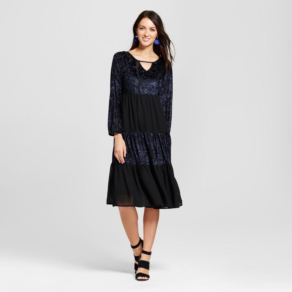 Womens Velvet Burnout Tiered Midi Dress with Built in Slip - Knox Rose Black M
