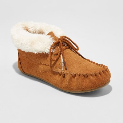 Women's Corene Shearling Suede Tie Front Moccasin Slippers - Mossimo Supply Co.™ Chestnut 9