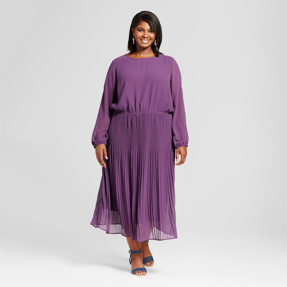 Womens Plus Size Pleated Cold Shoulder Dress - Ava & Viv Purple 3X