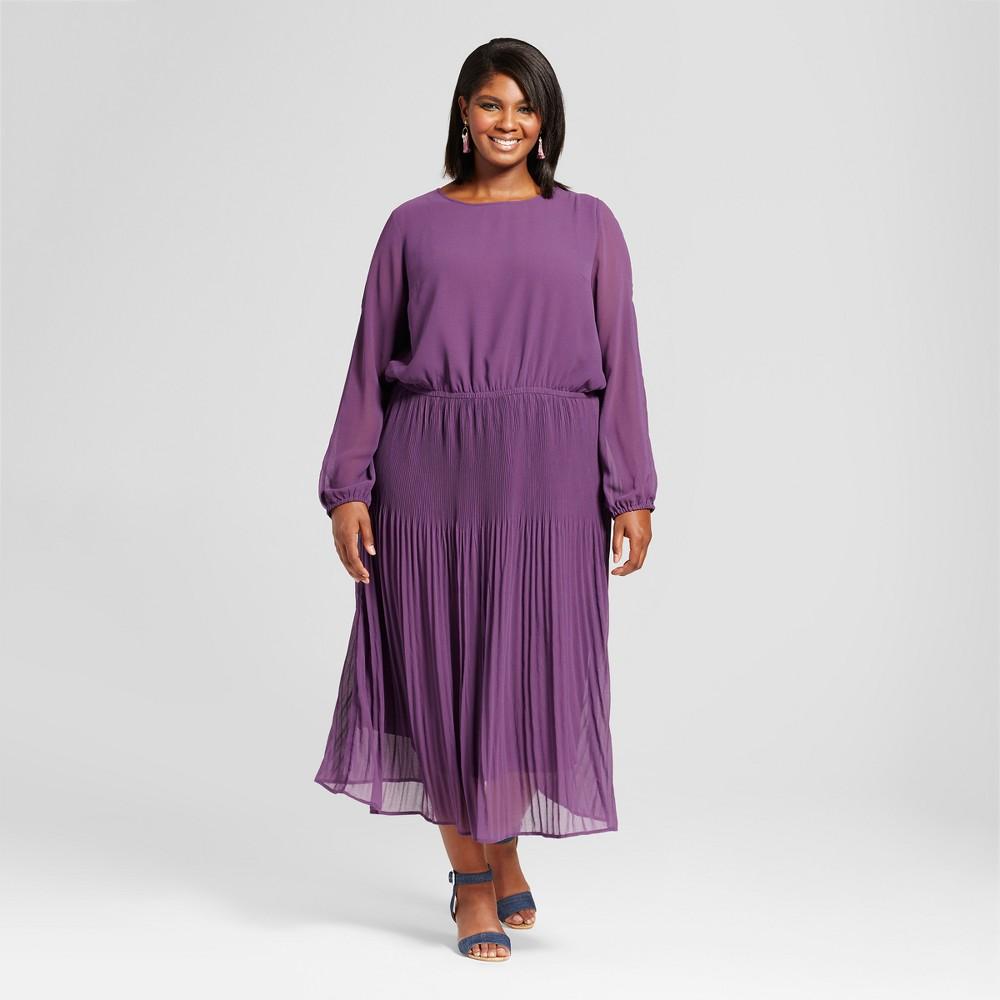 Womens Plus Size Pleated Cold Shoulder Dress - Ava & Viv Purple 4X