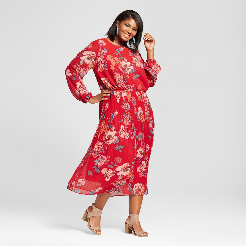 Womens Plus Size Printed Pleated Cold Shoulder Dress - Ava & Viv Red X