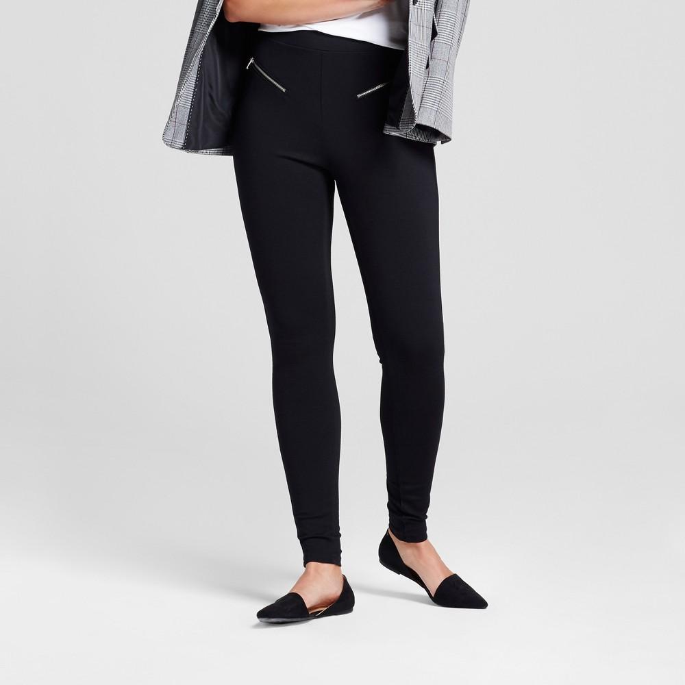 Womens Zipper Ponte Pants - A New Day Black M