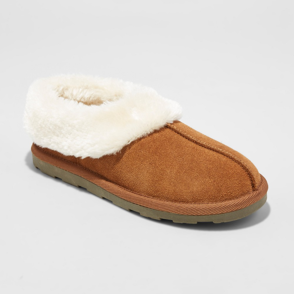 Womens Dyanna Suede High Collar Slippers - Mossimo Supply Co. Chestnut 8, Brown