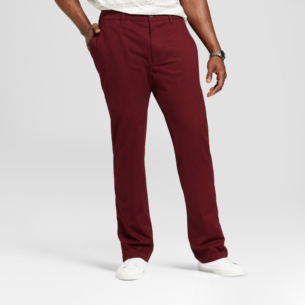 Mens Big & Tall Athletic Fit Hennepin Chino Pants - Goodfellow & Co Burgundy (Red) 36X36