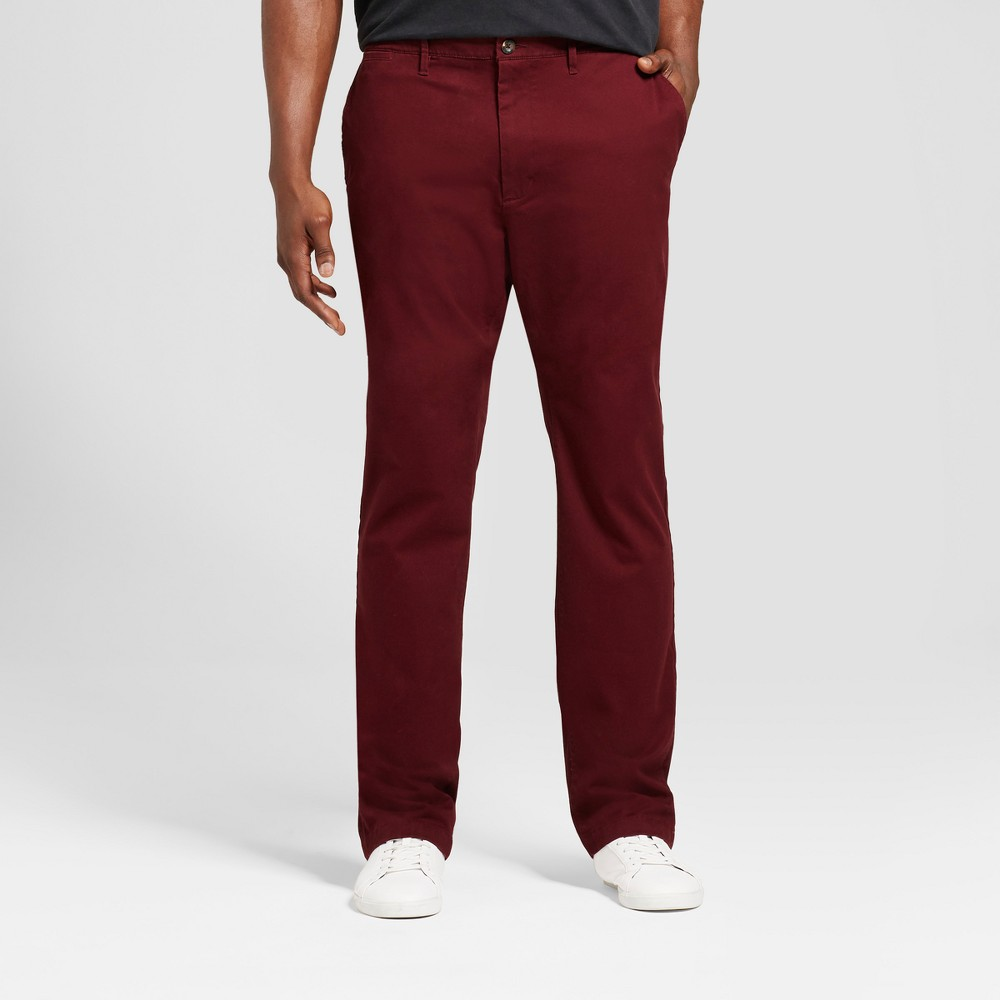 Mens Big & Tall Slim Fit Hennepin Chino Pants - Goodfellow & Co Burgundy (Red) 34x36