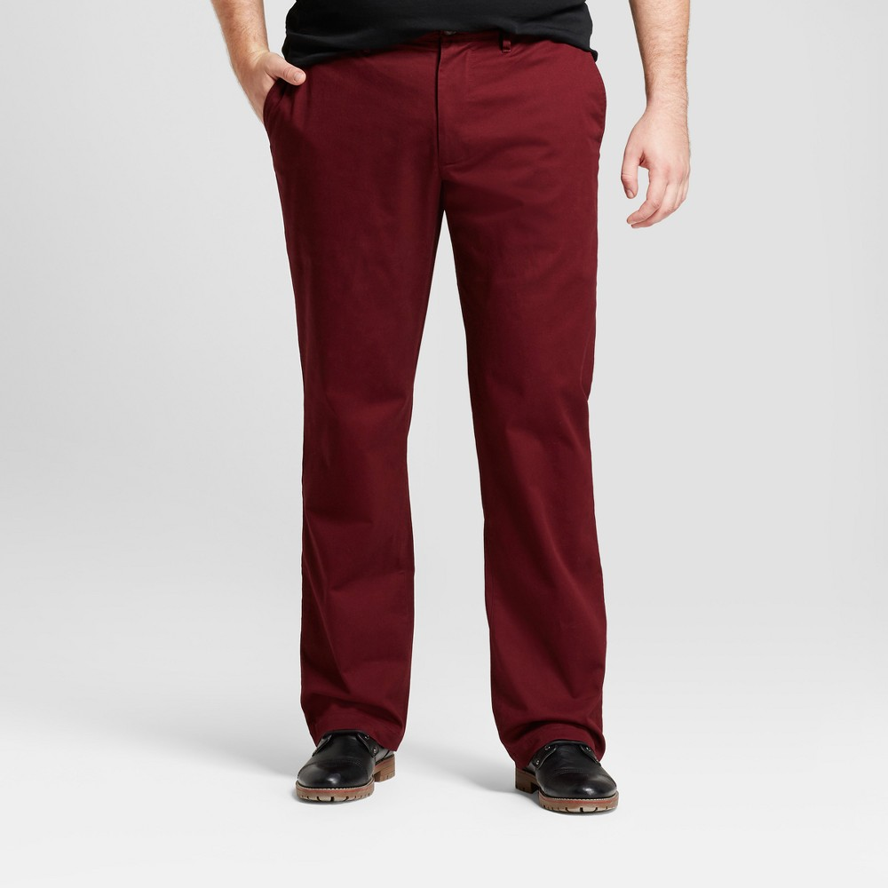 Men's Big & Tall Straight Fit Hennepin Chino Pants - Goodfellow & Co Burgundy (Red) 42X36