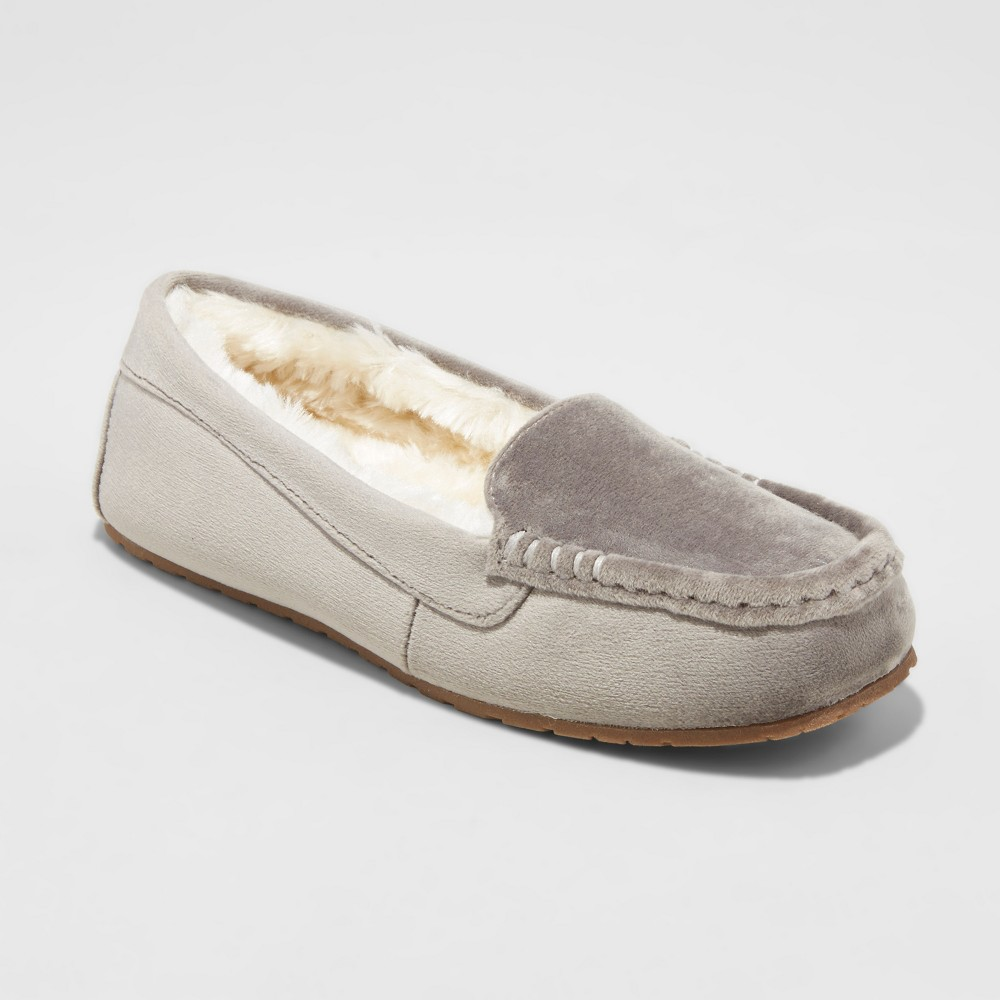 Womens Gemma Velvet Driving Slippers - Mossimo Supply Co. Gray 6