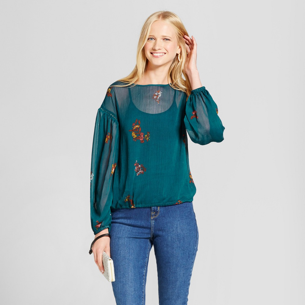 Womens Floral Chiffon Top - Mossimo Supply Co. Blue Xxl