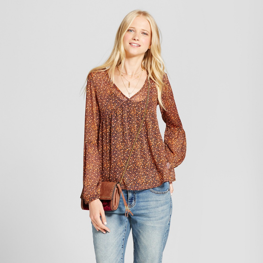 Womens Floral Chiffon Top - Mossimo Supply Co. Rust L, Blue