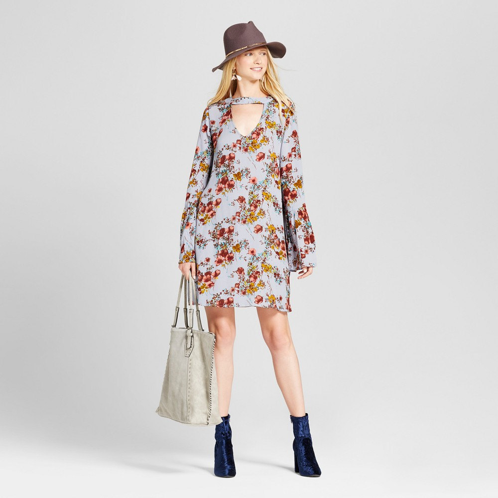 Womens Long Sleeve Woven Dress - Mossimo Supply Co. Blue M